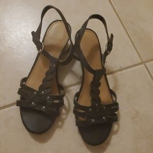 Franco Sarto wedge black leather sandal 6.5 FREE